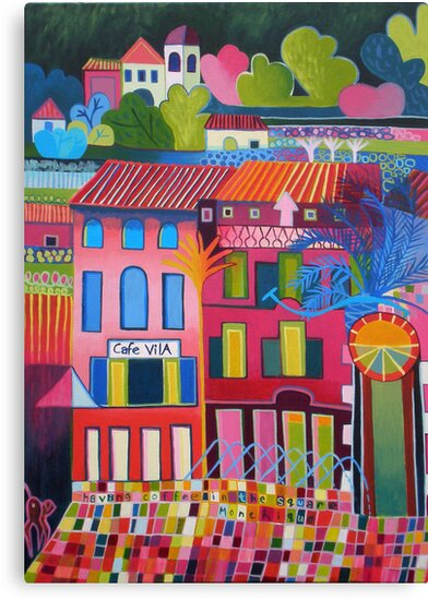 Having coffee in the square, Monchique by Liz Allen