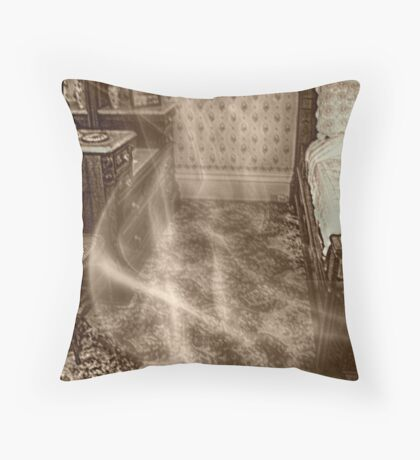 Front 2nd Floor Bedroom Where Abby Was Found, Lizzie Borden's Home Throw Pillow