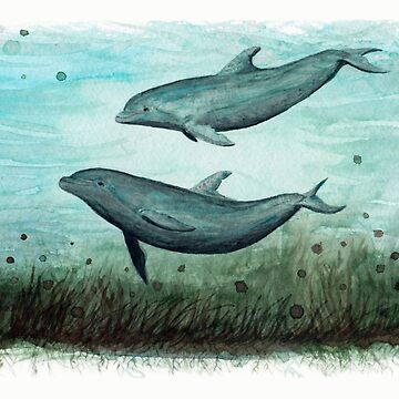 """Two Inshore Dolphins"" by Amber Marine ~ Watercolor painting, art © 2015 by AmberMarine"