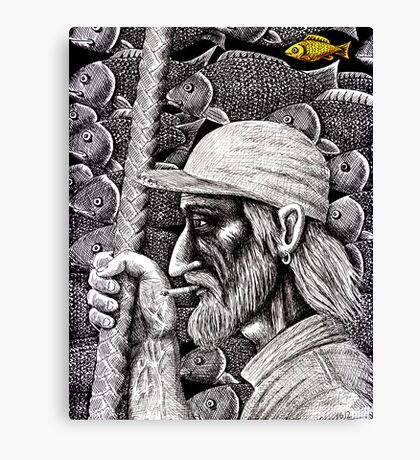 Old Fisherman surreal pen ink black and white drawing Canvas Print