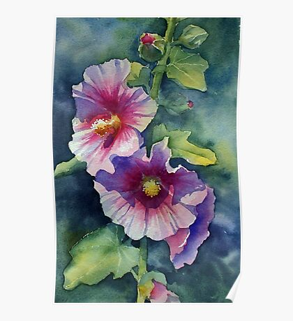 Sunny Pink Hollyhock Poster