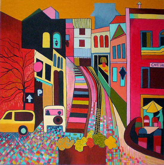 Monchique, view up the donkey steps by Liz Allen
