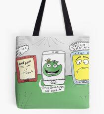 Apple hp HTC smartphones caricature Tote Bag