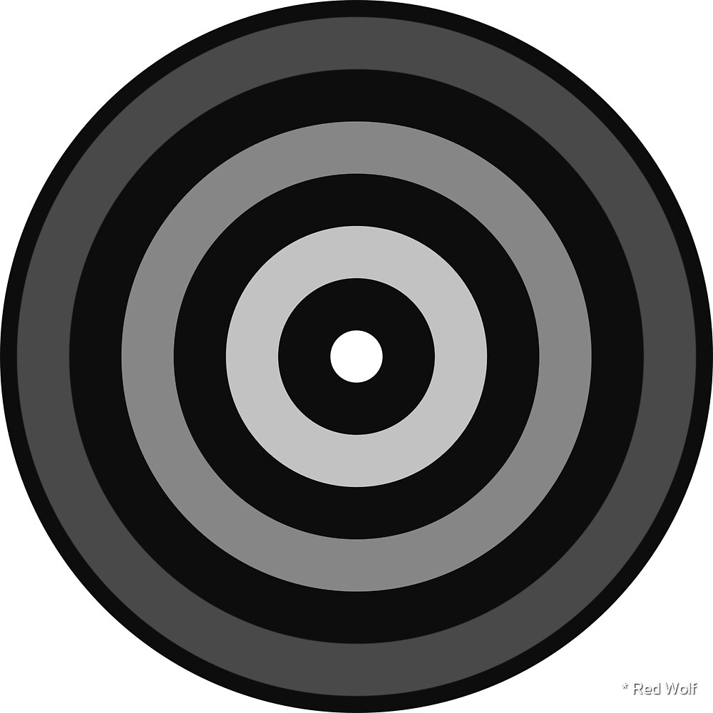 Geometric Pattern: Rondel: Monochrome Gradient Jet by * Red Wolf