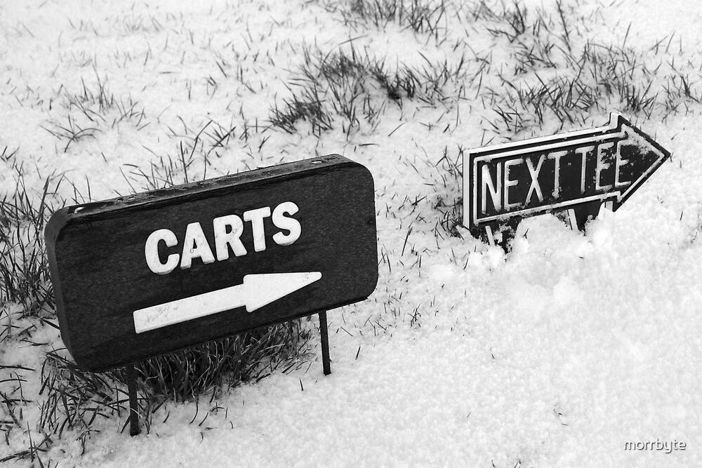 cart and next tee sign on a snow covered golf course by morrbyte
