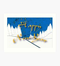 Happy New Year from a Snowy Countryside Art Print