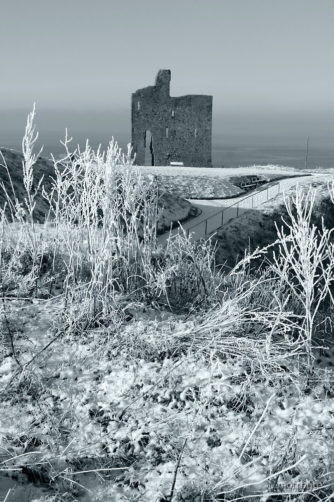christmasy view of ballybunion castle ruin by morrbyte