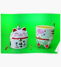 Playing golf on cat cups Poster