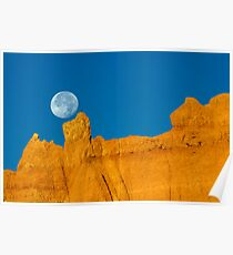 Moon Over Sandstone Poster