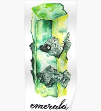 Watercolor Emerald With Calligraphy – May Birthstone Poster