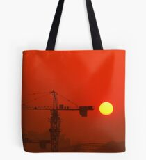 construction site setting sun Tote Bag