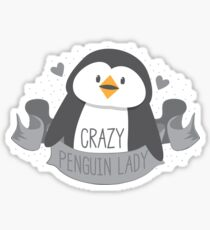 Crazy penguin Lady Banner Sticker