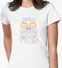 Crazy Yeti (abominable snowman) Lady Women's Fitted T-Shirt