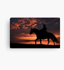 Cowboy Sunset Canvas Print
