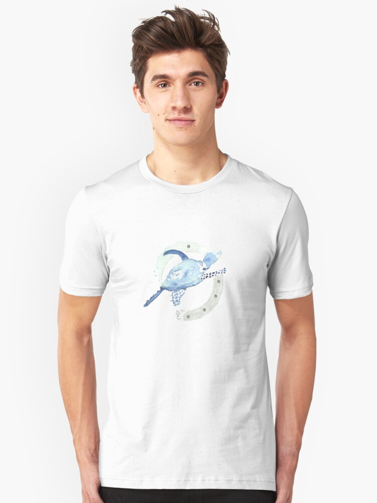 Blue Turtle in a Periscope Unisex T-Shirt Front