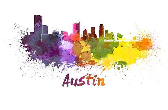 Austin skyline in watercolor by paulrommer