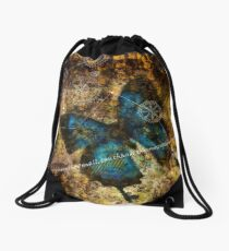 Contemplating the Butterfly Effect Drawstring Bag
