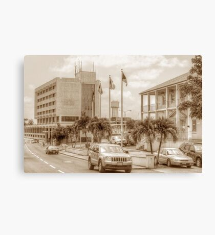 The Post Office on East Hill Street and the Water Tower in Nassau, The Bahamas Canvas Print