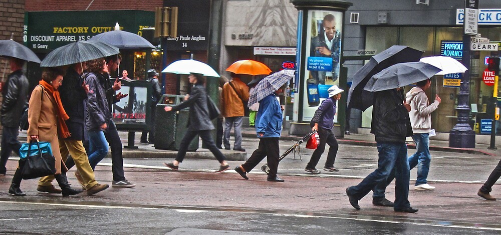 On The Go in the Rain - San Francisco by David Denny