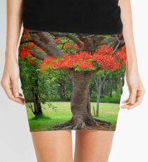 Fiery Poinciana Trees Mini Skirt