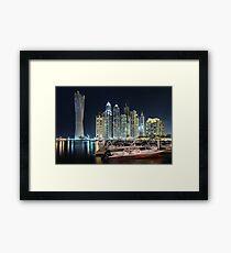 Night time lights at the Dubai Marina Framed Print