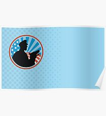 Policeman Security Guard With Police Dog Retro  Poster