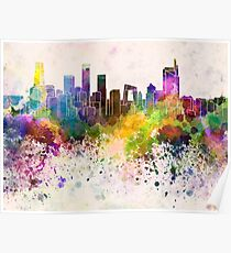 Beijing skyline in watercolor background Poster