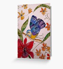 TROPICAL BIRD WITH ORCHIDS 7 Greeting Card