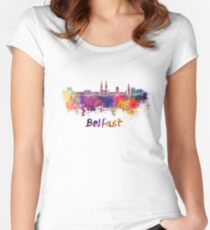 Belfast skyline in watercolor Women's Fitted Scoop T-Shirt