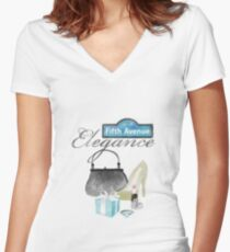 5th Avenue Elegance Women's Fitted V-Neck T-Shirt