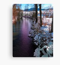 Quiet river in winter time Canvas Print