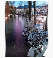 Quiet river in winter time Poster