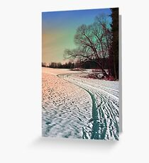 A snowy trail and some trees Greeting Card