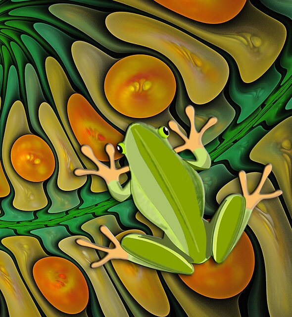 Frog in a Fractal Pool case by walstraasart
