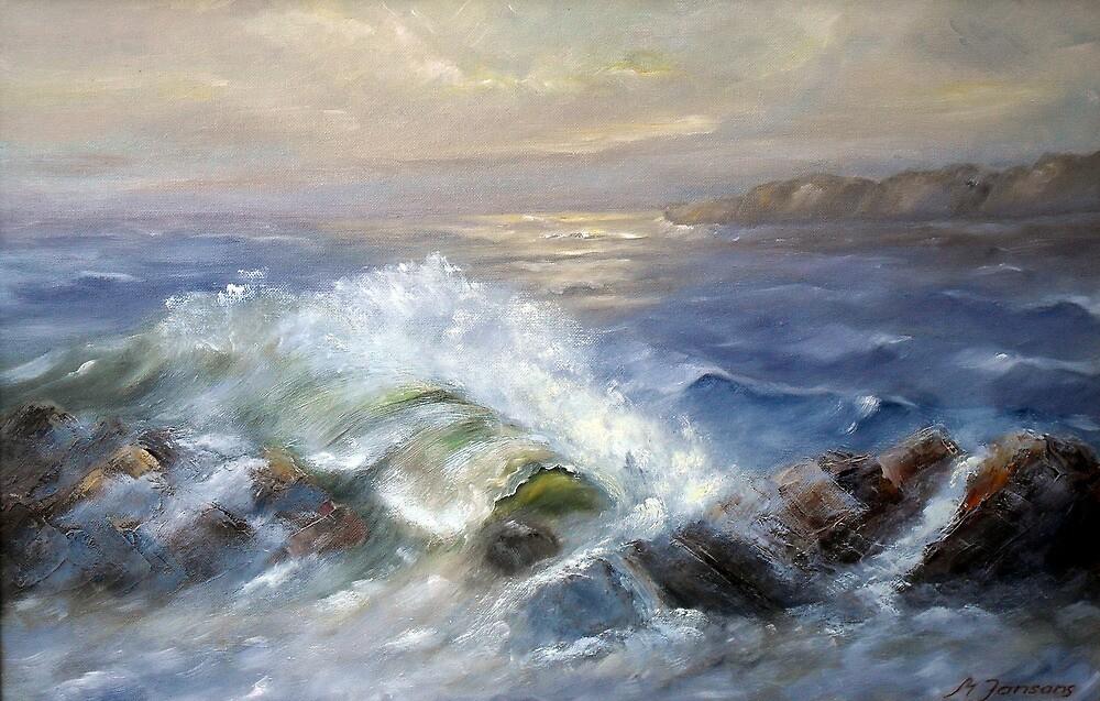 Waves on rocks by Milija  Jansons