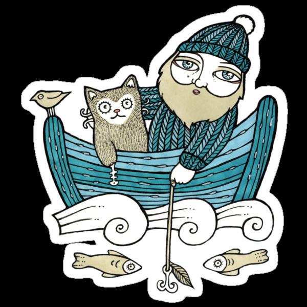 The Fisherman's Cat (Tee) by Anita Inverarity