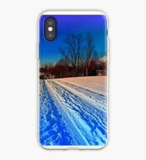 Traces on a winter hiking trail iPhone Case