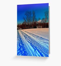 Traces on a winter hiking trail Greeting Card