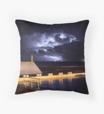 Incoming Storm, Newcastle Ocean Baths Throw Pillow