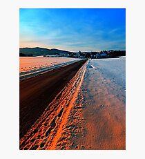 Winter road at sundown Photographic Print