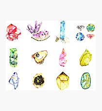 Watercolor Birthstones Photographic Print