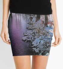 Quiet river in winter time Mini Skirt