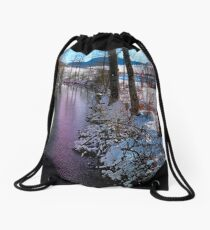 Quiet river in winter time Drawstring Bag