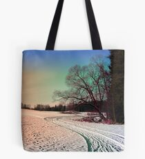 A snowy trail and some trees Tote Bag