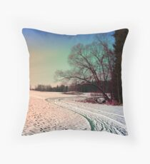 A snowy trail and some trees Throw Pillow