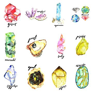 Watercolor Birthstones With Calligraphy by sadiesavesit
