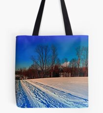 Traces on a winter hiking trail Tote Bag