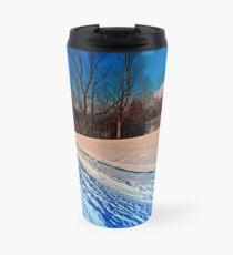 Traces on a winter hiking trail Travel Mug