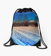 Traces on a winter hiking trail Drawstring Bag