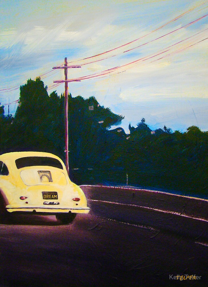 'California Dream on Hwy 1' Vintage Porsche 356 by Kelly Telfer